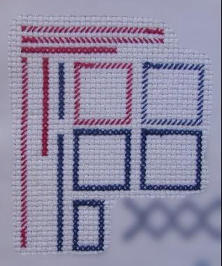 Linhas e quadrados em ponto cruz